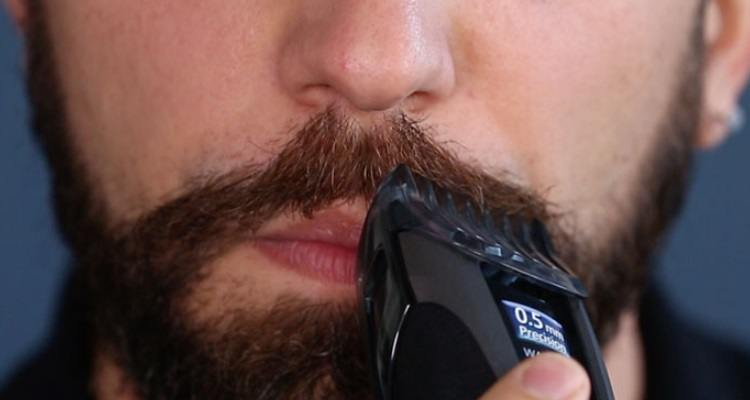 Trim Mustache With Electric Shaver